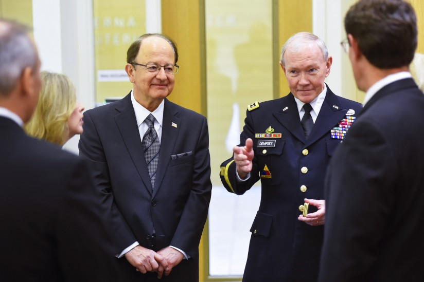 USC President C. L. Max Nikias, left, stands with Joint Chiefs of Staff chairman Gen. Martin Dempsey on Monday. (USC Photo/Gus Ruelas)